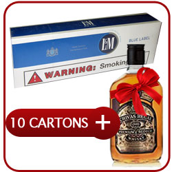 10 Cartons of L&M Box Blue + Chivas Regal 12 Y.O. Whiskey  50CL