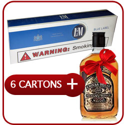 6 Cartons of L&M Box Blue Cigarettes + Chivas Regal 12 Y.O. Whiskey  50CL
