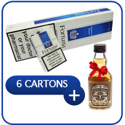 6 Cartons of Fortuna Blue Cigarettes + Miniature Chivas Regal 12 Y.O. Whiskey 50 ml.