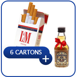 6 Cartons of L&M Red Cigarettes Swiss Made + Miniature Chivas Regal 12 Y.O. Whiskey 50 ml.